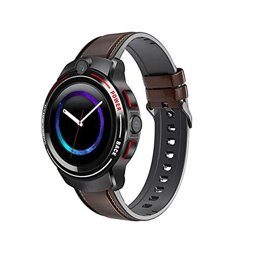 Ownlife 4g Smart Watch Display Rotondo SIM Dual Fotocamera IP68 Impermeabile GPS 3G 4G Smartwatch SmartWatch (Color : Black Brown)