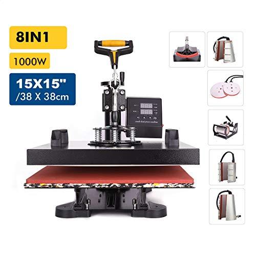 Valens 8 in 1 Heißpresse Hitzepresse Heat Press Machine 38x38cm Transferpresse Tassenpresse Textilpresse Mulitifunktional Sublimation 360 Grad für T-Shirts Becher Platten Kappe (38 x 38 cm)
