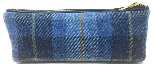 Scott MacKenzie Harris Tweed Blaue Tartan Kosmetiktasche