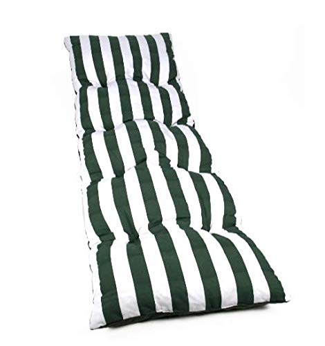 Dabuty Online, S.L. Colchón Tumbona Acolchada Classic 180 x 55 x 8 cm Texturas (Rayas Verde). Colchoneta de Silla de terraza, Jardin 🔥