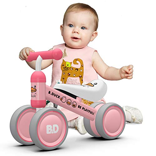Luddy Baby Balance Bike Toddler Tricycle Bike Toys for 6-36 Month Age Old Little Infant Girl Boy, First Birthday Present, 1st Walker Riding Wheel Sport Bicycle, Push Strider for Kids (Pink Duck)
