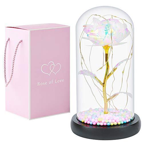 Beauty and The Beast Rose Künstliche BlumeGlaskuppel und LED Lampe Kombination Home Decoration, Valentinstag, Jubiläum, Weihnachtsfeier. Sehr geeignet für Frauen Geschenk. (Bunte Rose)