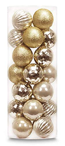 AUXO-FUN 1.57' 28ct shatterproof Christmas Ball Ornaments in 4 finishes for Christmas Tree Decoration (Golden Yellow)
