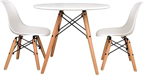 UrbanMod Kids Mid Century Style Modern White Table Set, Round Table with Two (2) ABS Easy-Clean Chairs!! Highest Strength Capacity (330lbs) - Safer Chair Height!