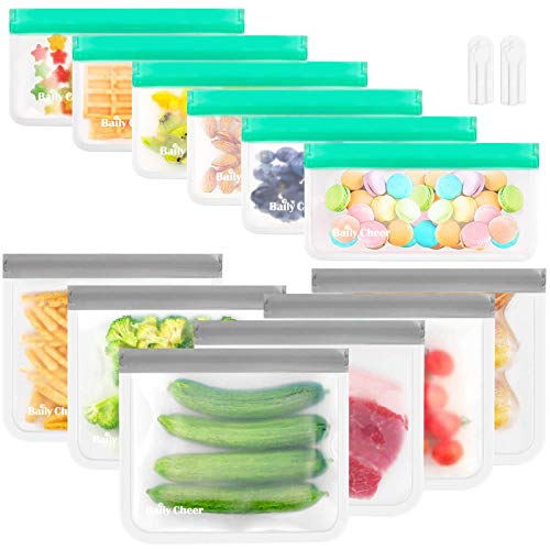 Reusable Storage Bags, 12 Pack Extra Thick Food Storage Bags (6 Reusable Sandwich Bags & 6 Reusable...