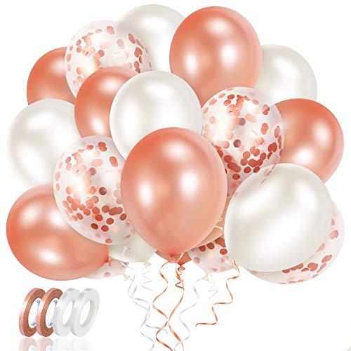 Meromore Rosegold Luftballon Set, 70 Stück Konfetti Luftballons & Latex Helium Ballons mit Bändern für Geburtstag, Hochzeit, Babyparty, Graduierung, Deko, Geschäftstätigkeit