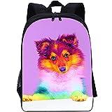 RomantiassLu Mochilas para niños Mochila escolar impresa en 3D dog backpack for kid Mochila de viaje para adolescentes niño niña camping y senderismo mochilas 16inch Mochila animal lindo