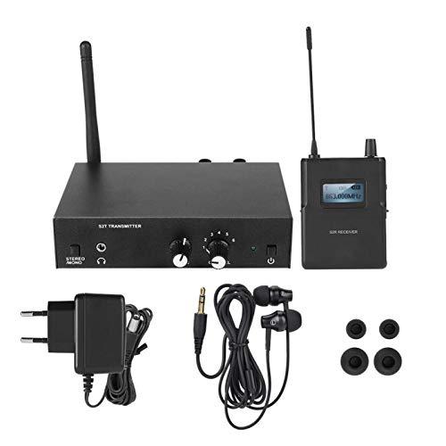 FOLOSAFENAR Sistema de monitorización Inear Sistema de monitorización de oído inalámbrico para Exteriores Más de 100 Metros Monitor de oído Interno(European Plug)