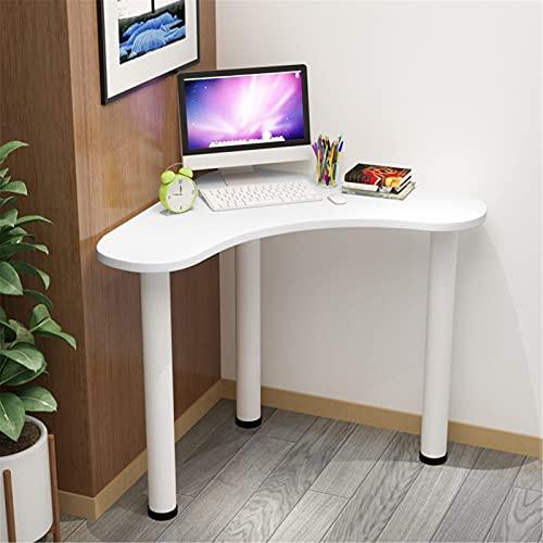 Tocador triangular, estación de trabajo multifuncional PC compacta, escritorio esquina computadora para el dormitorio hogar, pequeño y resistente escritorio oficina, 65x65x74 cm,Blanco