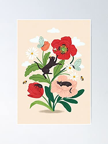 Situen Tiny Cats with Flowers Poster - for Office Decor, Dorm, Classroom, Gymnast and LGBT Besties, Holiday, Great Inspirational Wall Art