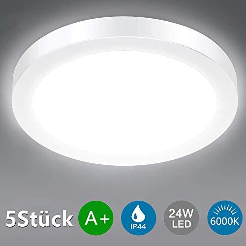 DLLT LED Deckenleuchte Rund 24W Panel 5 Stück, Superhell 6000k Kaltweiß IP44 Wasserdicht, 80% Energieeinsparung Deckenlampe für Wohnzimmer, Schlafzimmer, Kinderzimmer, Küche, Büro, Flur