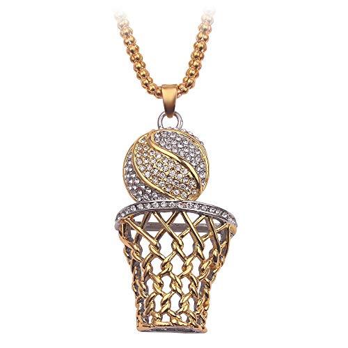 Hip Hop 3D Basketball Hook Colgantes y collares Gold Sports Iced Out Collar de cadena de diamantes de imitación para mujeres Hombres Envío de la gota-gold_silver