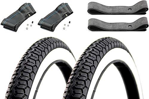 Set Mitas Weißwand 2X Reifen 2,25 x 16 Zoll +2X Schlauch +2X Felgenband