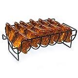 Usmato BBQ Grill-Halter Smoker Rippchen-Ständer Rack Grillkorb Premium für Hähnchen oder Spare Ribs, Braten- und Rippchenhalter, Bratenkorb Für Party