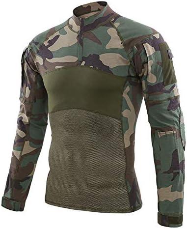 Hombre Militar Táctica Camisa Al Aire Libre Camuflaje Camisas Manga Larga Secado Rápido Remeras Dry Fit Transpirables T Shirt Training Top