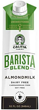 Califia Farms Almond Milk Unsweetened Barista Blend 32 Oz Pack of 6 Shelf Stable Non Dairy Nut product image