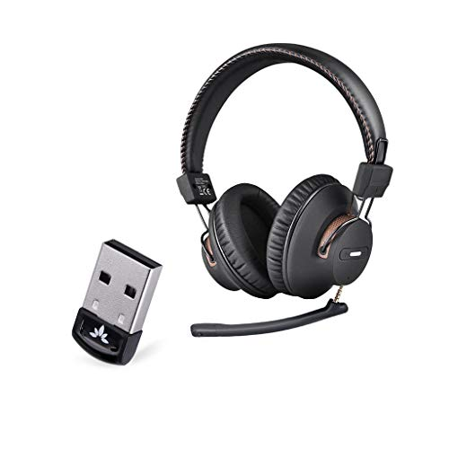 Avantree DG40S USB Bluetooth Adapter for PC & AS9M Bluetooth Over Ear Headphones with Detachable Boom Mic for Phone Call, Clear Voice & HiFi Sound Quality