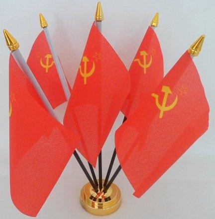 USSR Rusland Hamer Sickle Sovjet-Unie 5 Vlag Desktop Tafeldisplay Met Gouden Basis