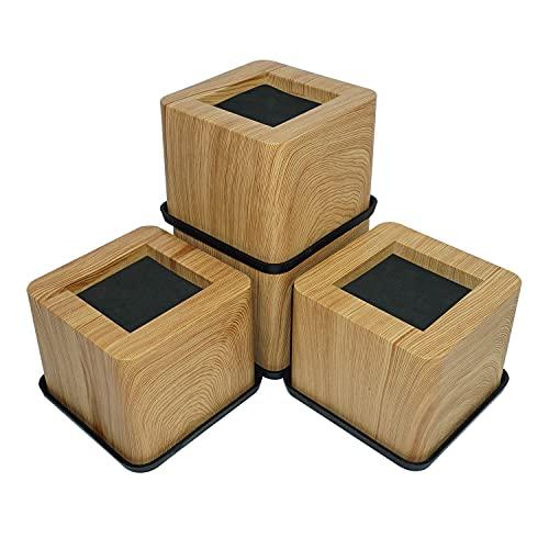 aspeike 3 POLLICI Letto e Mobili Alzate Heavy Duty Letto Sollevatori - Solleva fino a 6600 libbre Riser divano, scrivania, tavoli o sedie (Più realistica sensazione di legno)