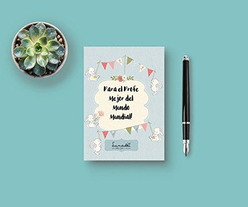 Lunadei Tarjeta de Felicitación con sobre | Ideal para Dar Las Gracias al Profe de Tus Hijos! | Diseño Único Firmado Cartulina (350 g/m2) | Formato A6 (105 mm x 148 mm)