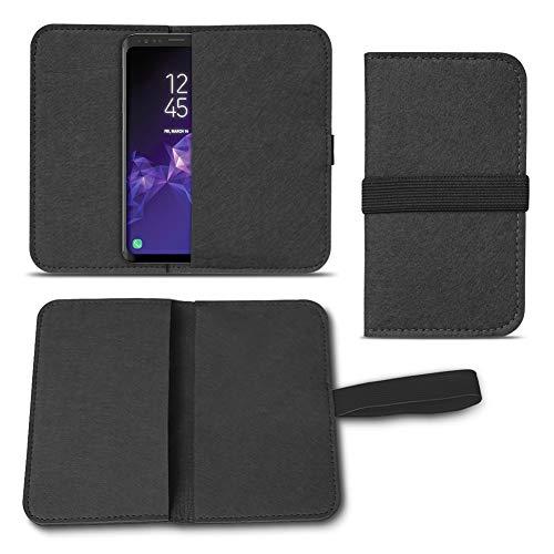 UC-Express Filz Tasche kompatibel für Samsung Galaxy S20 S10 S9 Lite Plus A40 A41 A21 A21s A51 Hülle Cover Handy Case Schutzhülle, Farben:Schwarz