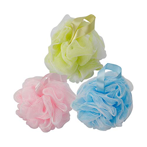 3 Pack Shower Puff, Colors Bath Sponge Big Full Lather Cleanse 60g/pcs, Pouf Ball for Exfoliate Bathing Accessories by WEIKILLY