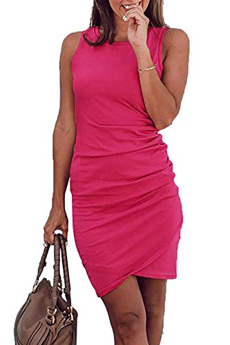 BTFBM Casual Ruched Bodycon T Shirt Dress