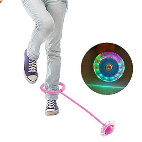 Bollaer Kinder blinkender Sprungring bunt Sprungband Springseile Sport Swing Ball LED-Licht Twist On Jumping Blinken Springball, rose