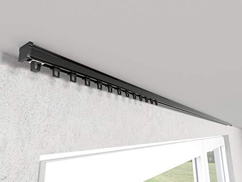 Market-Alley Vorhangschiene Aluminium Weiß/Schwarz Gardinenschiene ; C 1-läufig ; 120cm-600cm. Für Kräuselband Gardinen oder Schiebevorhang (Schwarz Gardinenschiene mit Ösengleiter ; 160cm)