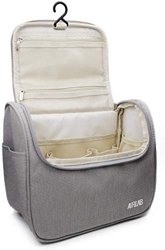 Travel Hanging Toiletry Bag for men and women, Airlab Large Toiletries Organizer, Make up, Cosmetic bag with Handle and Hook, Travel Organizer, Grey