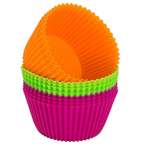 Webake Silicone Baking Cups 43 Inch Jumbo Reusable Cupcake Liners Mold Nonstick Extra Large Muffin Pans Pack of 12