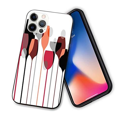 Wine diseñada para iPhone 12 Pro, funda abstracta de copas de vino con lunares alcohol bebida moderna carcasa de silicona a prueba de golpes con forro antiarañazos, 6.1 pulgadas, rojo, gris, negro