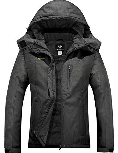 GEMYSE wasserdichte Berg-Skijacke für Frauen Winddichte Fleece Outdoor-Winterjacke mit Kapuze (Graphitgrau,S)