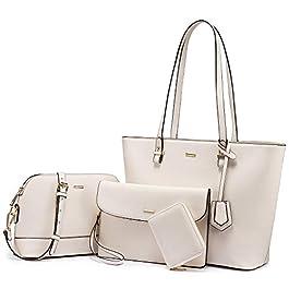 LOVEVOOK Lot de 3 sacs à main pour femme, Beige (beige), Medium