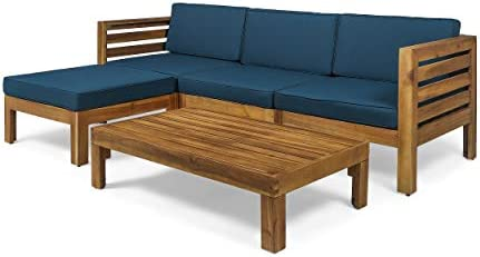 Best Christopher Knight Home Alice Outdoor 5 Piece Acacia Wood Sofa Set, Teak Finish, Dark Teal