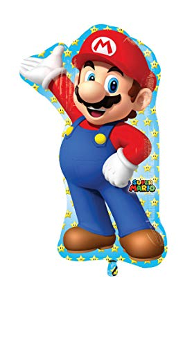 Anagram- Pallone Foil Supershape 33''-83 cm Supermario, Multicolore, taglia unica, 7A3201001