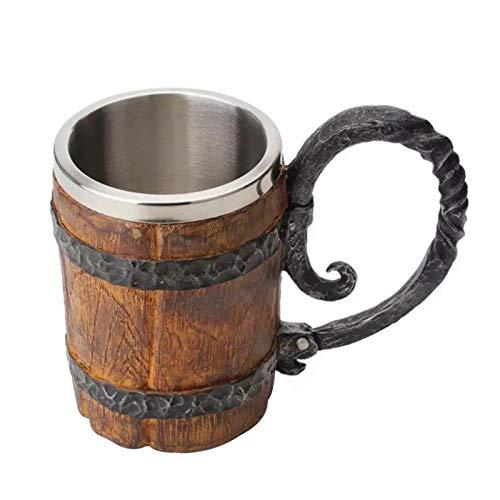 pegtopone - Jarra de cerveza de madera de simulación, taza de cerveza, taza de vino de cerveza, personalizable con forro de acero inoxidable para agua, café, bebida, fiestas, casa, bar, 550 ml