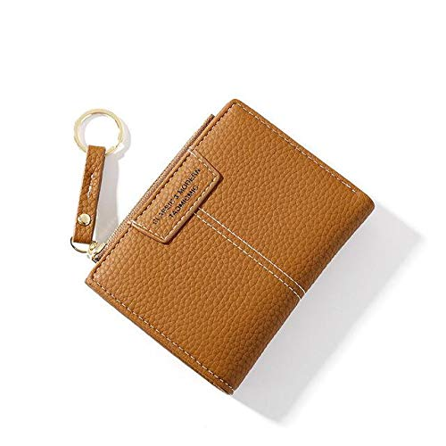 Yellow Ladies Wallet Soft PU Leather Ladies Wallet Mini Buckle Card Holder Coin Short Wallet Slim Small Wallet Zipper Keychain-Brown