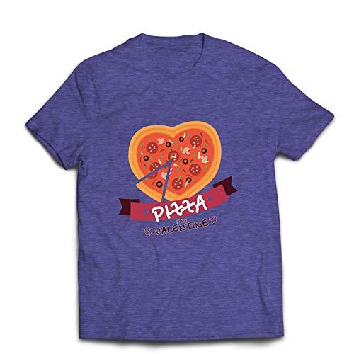 lepni.me Mens T-shirt Pizza är min Valentinmatälskare Alla Hjärtans Daggåva (M Ljung Blå Multi Color)