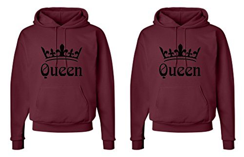 FASCIINO LGBT Matching Gay Pride Hers & Hers Lesbian Couple Hooded Sweatshirt Set - Queen and Queen Crowns (Queen Shirt #1: Large/Queen Shirt #2: XLarge Maroon)