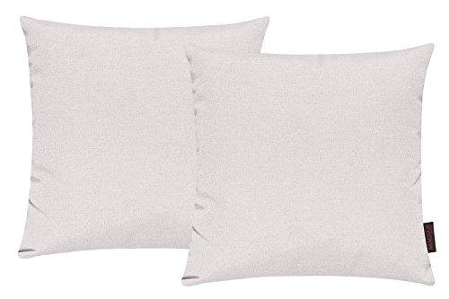 Fino Kissenhülle ca. 40 x 40 cm hochwertig & knitterarm Farbe 81 Elfenbein (2er Set)