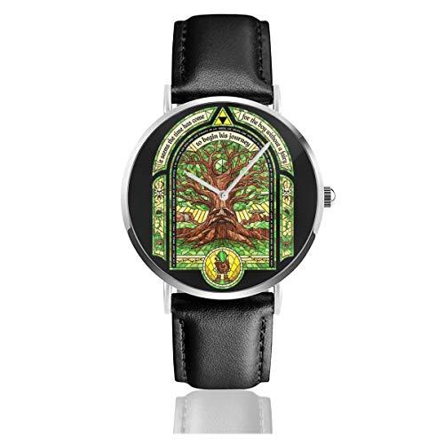 Unisex Business Casual Deku Tree Legend of Zelda Uhren Quarz Leder Uhr mit schwarzem Lederband für Männer Frauen Junge Kollektion Geschenk