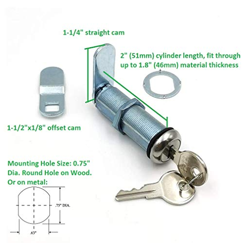 Extra-Long RV Cam Lock with 8025 Key Code, 2 Inch Weather Resistant Cam Lock for RV, Thick Drawer, and Compartment Door, Replacing CH751 Lock
