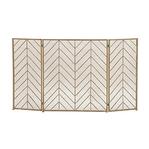 Affordable Fire Spark Guard Screen with 3 Panel, Foldable Freestanding Spark Guard with Metal Mesh, ...