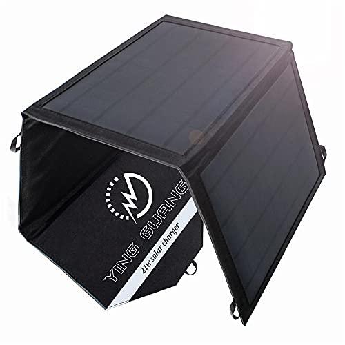 Cargador solar plegable de 21 W, cargador de batería solar portátil, 3 paneles, impermeable, con puertos USB duales para camping, iPhone, iPad, Samsung Galaxy LG teléfonos móviles y dispositivos