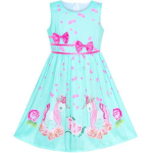 Sunboree Mädchen Kleid Grün Einhorn Blume Sommer Trägerkleid Gr. 110