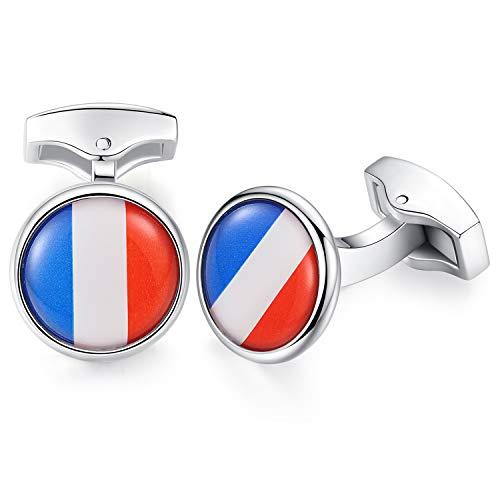 HONEY BEAR Gemelos para Hombres -Bandera Acero Inoxidable para Regalo de Boda de Negocios (Bandera de Francia Francesa)