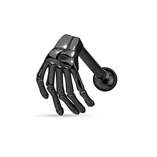 PunkJewelry Piercing Augenbrauenpiercing Skeletthand Barbell 316L Chirurgenstahl Farbe- schwarz