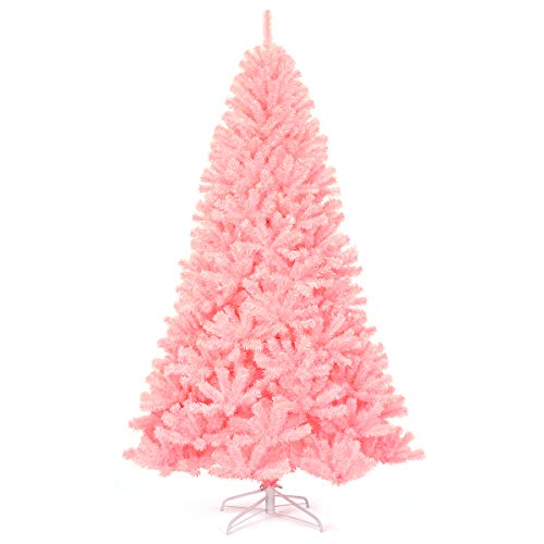 Goplus 7.5ft Unlit Pink Artificial Christmas Tree, Hinged Spruce Full Tree with Metal Stand, 100% New PVC Material, Xmas Tree for Indoor and Outdoor Decoration