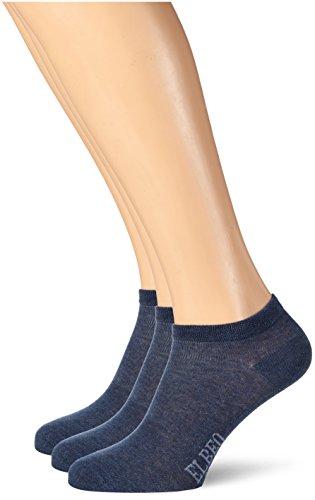 ELBEO Herren 906609 Sneakersocken, Blau (denim mel. 9758), 43/46 (3er Pack)